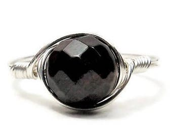 Garnet Faceted Gemstone Ring, Argentium Sterling Silver Wire Wrapped Ring, January Birthstone Ring