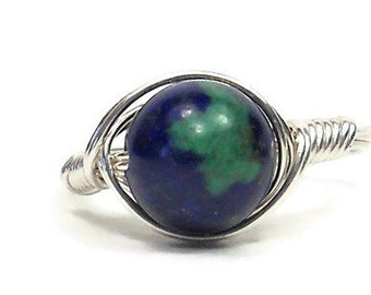 Lg Chrysocolla Azurite Ring Argentium Sterling Silver Wire Wrapped Gemstone Ring