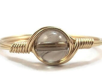 Smokey Quartz Ring,  Mineral Ring, 14k Yellow Gold Fill Ring, Wire Wrapped Ring