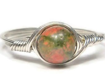 Unakite Wire Wrapped Ring Argentium Sterling Silver