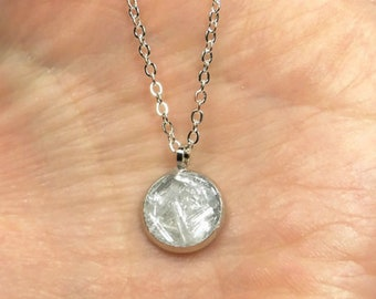 """Crushed Selenite Dainty Silver Plated Necklace 18"""""""