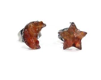 Moon & Star Earrings Crushed Carnelian Stainless Steel Stud Earrings