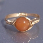 Orange Aventurine 14k Yellow Gold Filled Wire Wrapped Ring Custom Sized