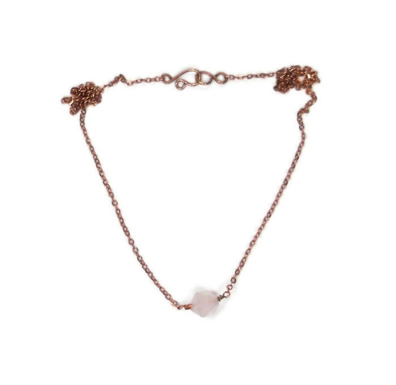 Rose Quartz Star Faceted Dainty Necklace 17 Inches Raw Copper