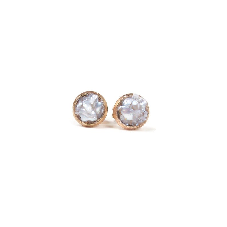 6mm Crushed Pearl Stone Rose Gold Plated Stud Earrings