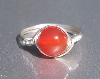 Lg Carnelian Argentium Sterling Silver Wire Wrapped Ring