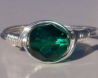 Large Teal Czech Glass Argentium Sterling Silver Wire Wrapped Cocktail Ring