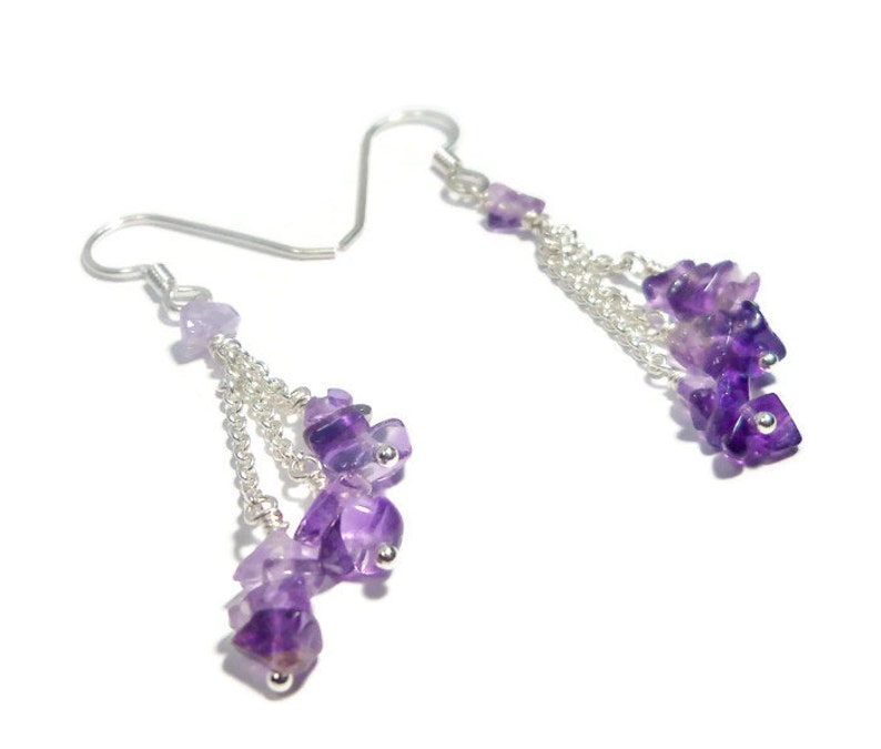 Amethyst Cascade Earrings Argentium Sterling Silver As Seen image 0