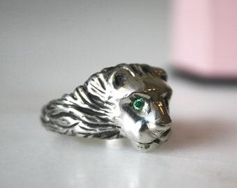 Lion Statement Ring with Gemstone Eyes