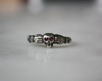 Traditional Skull and Hands Ring