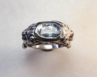 Lion Signet Ring with Aqua Blue Topaz