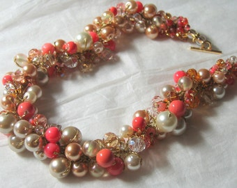 BRIDESMAID NECKLACE, Limited Edition, Poppy, Coral, Persimmon, Salmon, Ivory, Gold, Peach, Pearl Crystal Hand Knit, Sereba Designs, Etsy