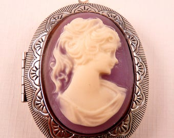 Cameo Pendant Cameo Locket Porcelain Cameo Purple Cameo Ivory Cameo Silver Cameo Silver Pendant Silver Bead Purple Pendant