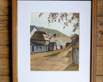 Painting France French Countryside Village Original Watercolor Framed Early Modernist Signed SR Brodhead