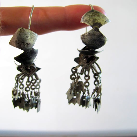 Earrings Indian Coin Silver Vintage Antique Traditional Chandelier Pierced