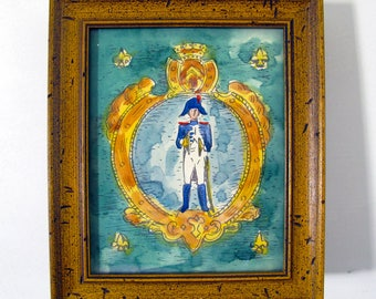Watercolor Napoleonic French Soldier with Cymbals 1950s Crest Bastille Day