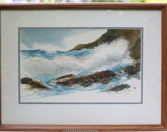 Painting Seascape Ogunquit Maine Waves Crashing Ruth Seegers Signed Watercolor Framed Perkins Cove