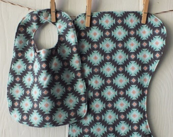 Southwest Baby Bib & Burp Cloth Set