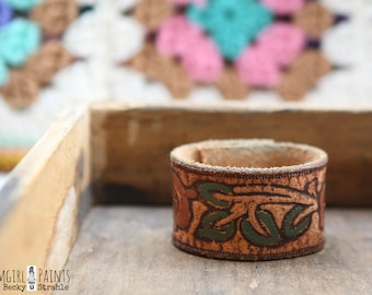 CUSTOM HANDSTAMPED CUFF - bracelet - personalized by farmgirl paints - distressed brown leather cuff with rose design