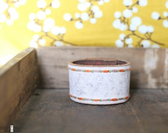 CUSTOM HANDSTAMPED CUFF - bracelet - personalized by Farmgirl Paints - distressed white leather cuff with colorful edge stitching