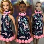 Unicorn Harvest print dress with pink pom-pom trim.  Huge Holiday Sale pricing!