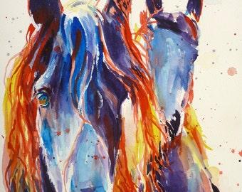 Watercolor Horse Art Print by Maure Bausch