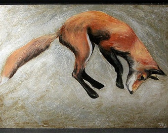 Jumping Fox oil painting