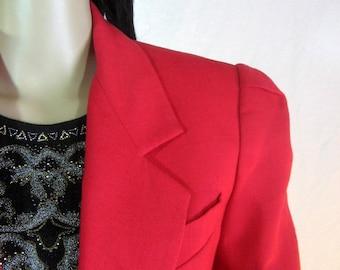 VESTE rouge par Le tailleur de Paris New York taille moyenne 10 des années 1980