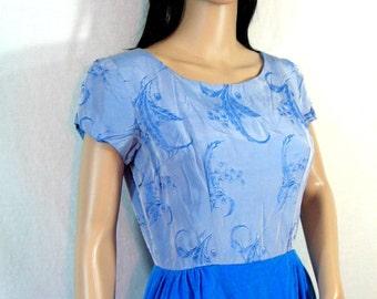 1950s DRESS Handmade TEAL BLUE VELVET SATIN medium