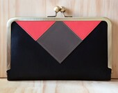 Handcrafted Triangle & Square Black Leather Wallet/Clutch - Holds All The Necessities