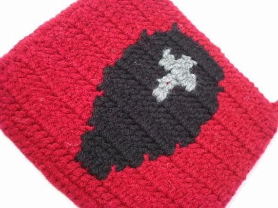 SOLDES cercueil manique - manique rouge et noir - manique au Crochet, manique, manique, manique - prêt à expédier