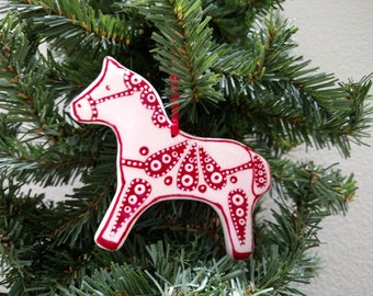 Ceramic Red Horse Christmas Ornament |Christmas Ornament |Red Horse Ornament |Dala Horse OrnamentCeramic |Horse Ornament - Shipping included