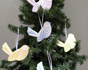 Bird ornament |Ceramic bird ornament |Clay bird ornament - Shipping included