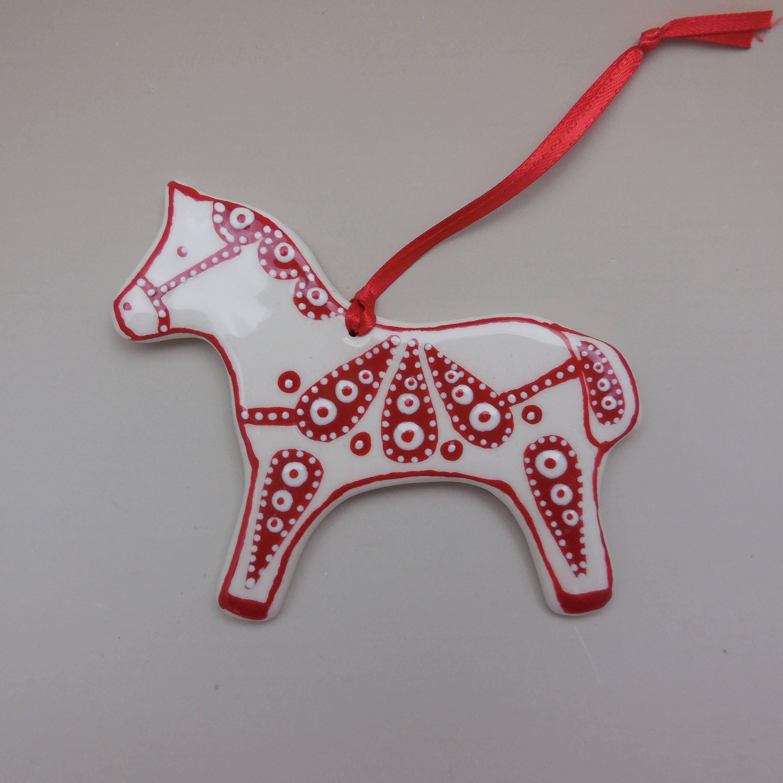 ceramic red horse christmas ornament christmas ornament red horse ornament dala horse ornamentceramic horse ornament shipping included - Christmas Ceramics