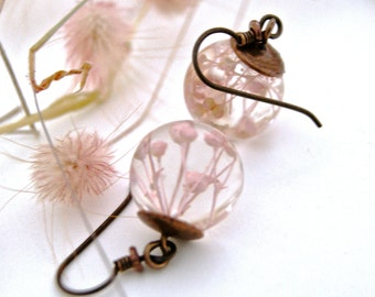 Gift for her. Light Pink Flower earrings. Copper earrings. Botanical earrings. Pink flower earrings. Real flower jewelry.  By OCEAN PETALS