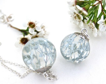 Ice Blue Flower Necklace. Real Flower jewelry. Baby's Breath necklace. Botanical jewelry. Flower Resin jewelry.  By OCEAN PETALS