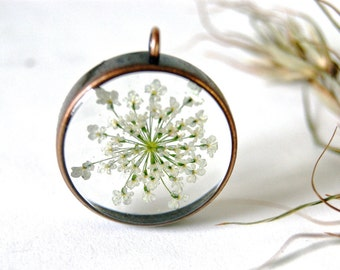 SALE Queen Ann's Lace Resin necklace. Copper jewellery. Real Flower necklace. White Flowers jewelry. Birthday gift. Wedding. By OCEAN PETALS