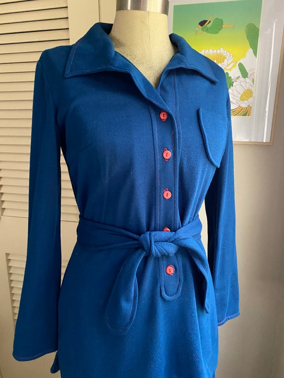 Womens 1970s Vintage Navy Polyester Suit
