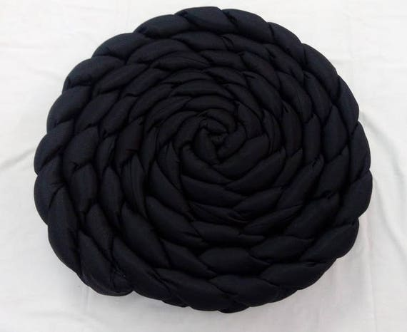 Black Pouf Mindfulness Gift Braided Pillow Knot Pillow Round Etsy