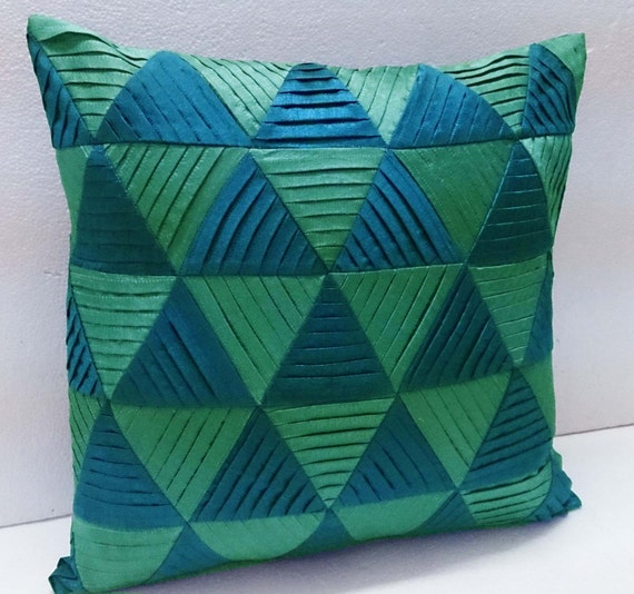 Modern Decorative Pillowteal Green Zig Zag Pleated Origami Etsy Stunning Teal Green Decorative Pillows