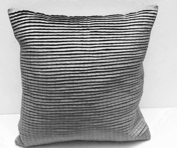 Pleated Light Grey Cushion Decorative Cushion Modern Pillow Etsy Mesmerizing Grey Decorative Bed Pillows