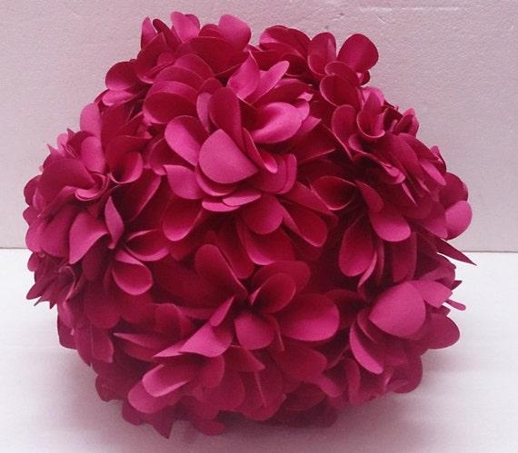 Fushia Pink Flower Pillow Round Pouf Circular Fibre Pillow Etsy