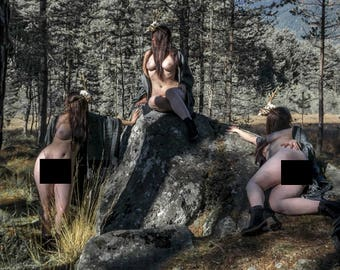 Nude art in nature Naked fine art photography Artistic photo print - Spirits of the Forest - 01 - MATURE