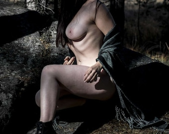 Outdoor nude fine art photography Naked in nature Artistic nude photo print - The Spirit Protector - 01