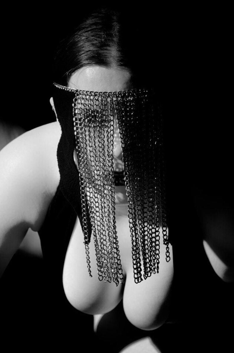 High contrast black and white portrait artistic nude photo print of a woman in a chain mask sensual home decor mature the chain queen 07