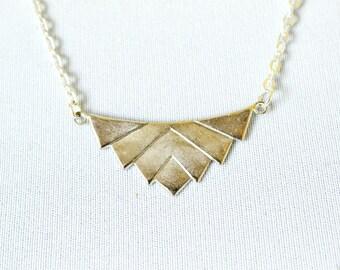 Silver Lotus Necklace, Modern Geometric Simple Charm Necklace, Buddhist Yoga Jewelry, Lotus Flower