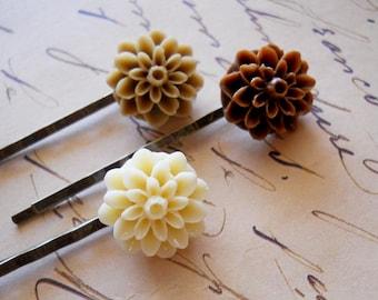 Cafe au Lait Hair Pins Dahlias Neutrals Coffee Brown Hair Accessories Set of 3