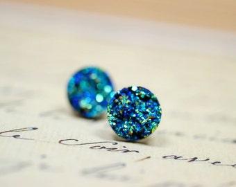 Titanium Blue Druzy Earrings / Faux Druzy Studs on Silver Post Backs / Iridescent Blue Green Studs