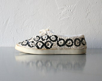 Vintage Lowrider Sneakers with Sequin Circles - On Your Feet by Chinese Laundry - US 5.5 - White and Black Polka Dots