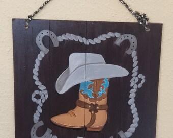 72b8ec7e2f9 Cowboy boot plaque | Etsy